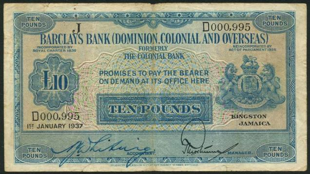 barclays bank note - Jamaica